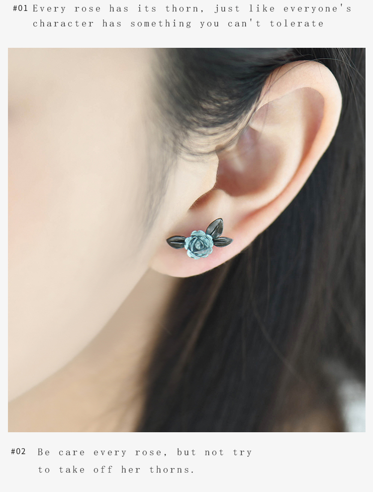 HTB1TKabA8mWBuNkSndVq6AsApXam Thaya s925 Silver Thorn Blue Crystal Rose Design Black Stud Earrings for Women Asymmetry Flower Earring Female Jewelry Gift