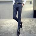 Повседневные брюки мужчины узкие брюки 2017 весна новая полоса бизнес платье плюс размер высокого качества Свадебный Костюм брюки TZ35 S ~ 4XL