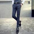 Calça Casual homens calças slim 2017 primavera nova faixa partido negócios vestido plus size de alta qualidade Terno Do Casamento calças TZ35 S ~ 4XL