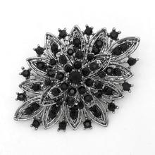 2 дюйма Винтаж Стиль с черным покрытием и черного цвета со стразами; обувь с украшением в виде кристаллов Бриллиантовая брошь