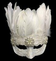 Gotik Beyaz Tüy Göz Maskesi Venedik Masquerade Ball Fantezi Elbise Yarım Yüz Maskeleri Aksesuar Benzersiz
