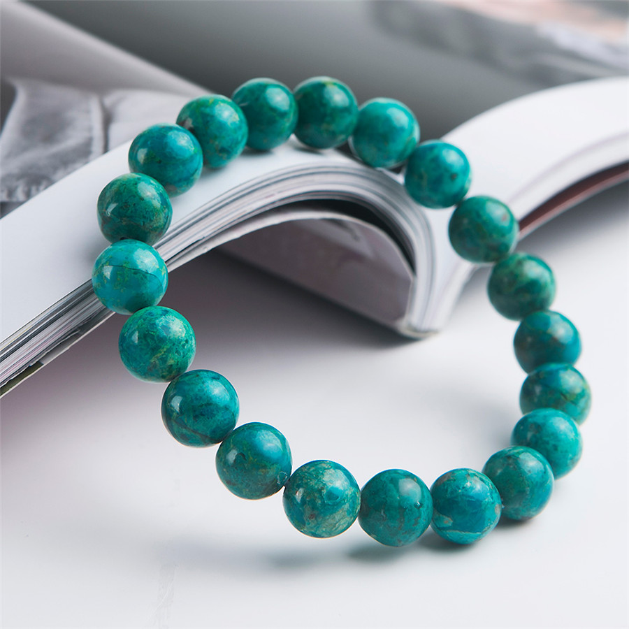 Genuine Green Natural Malachite Bracelets Women Lady 9.5mm Stretch Crystal Round Bead Natural Chrysocolla BraceletGenuine Green Natural Malachite Bracelets Women Lady 9.5mm Stretch Crystal Round Bead Natural Chrysocolla Bracelet