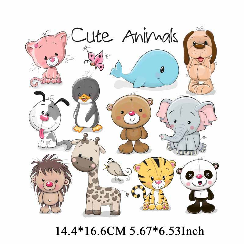 Iron on Cute Animal Patches Set for Clothes Heat Transfer Vinyl Appliqued Stickers DIY Children T shirt Decoration Thermal Press in Patches from Home Garden