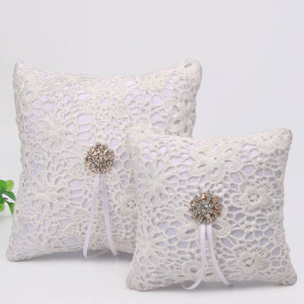 products heart diamante of pillow bearer cushion wedding double ring specifications white