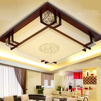 style Wooden LED ceiling lamp square living room lamp solid wood sheepskin lamp book room bedroom ceiling lights ZA ZS29