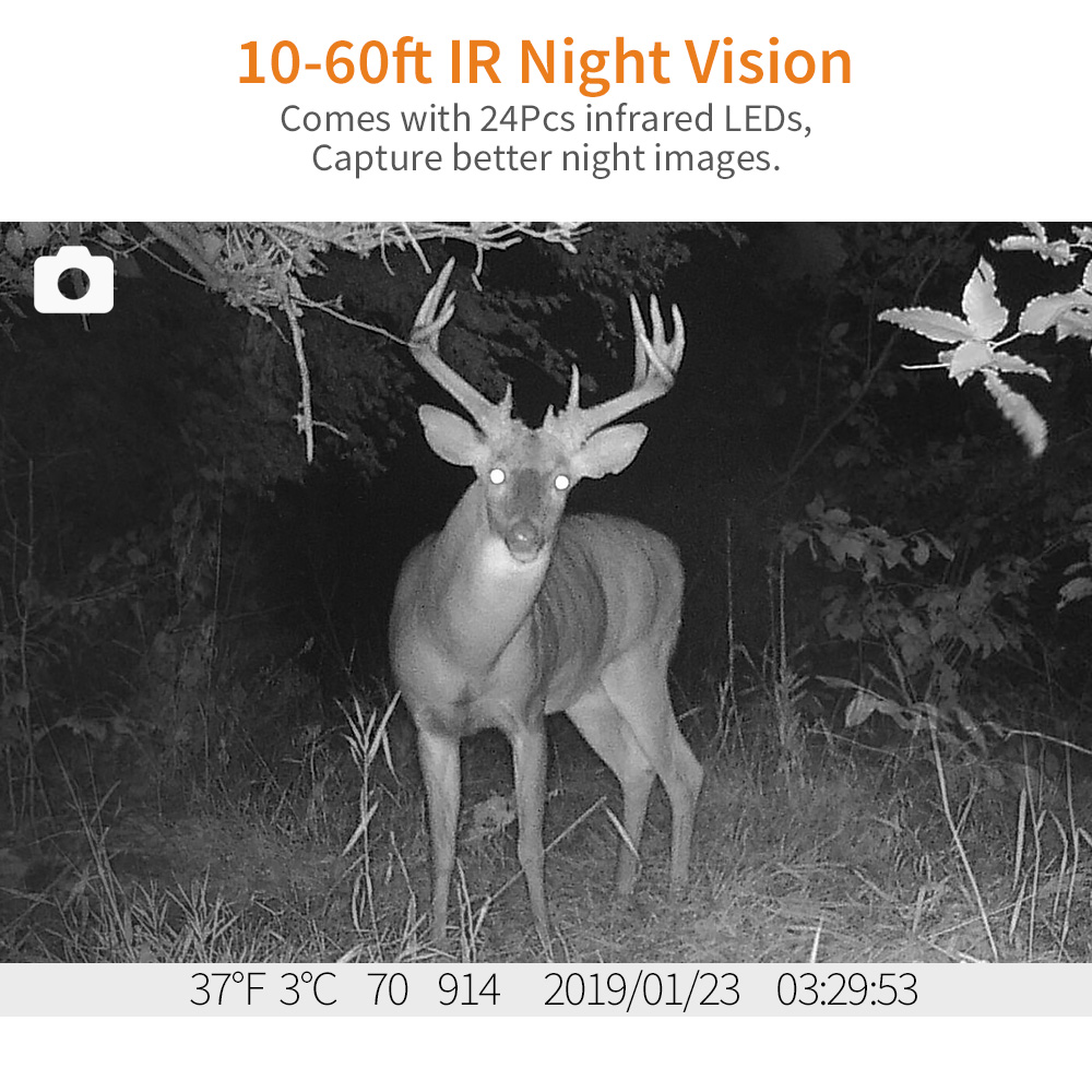 Image 3 - BOBLOV H883 18MP 1080P 120 Degree PIR Lens Hunting Trail Camera 24 Infrared LEDs Scouting Wildlife Night Vision Cameras-in Hunting Cameras from Sports & Entertainment