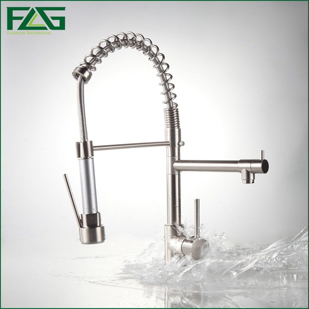 FLG Kitchen Faucet With Pull Out Vessel Sink Mixer Tap Deck Mounted Kitchen Robinet LED Nickel/Chrome Pull Down Torneiras 2087N new led pull out kitchen vessel sink faucet tap mixer