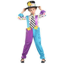 Lovely Funny Circus Clown Costume Cosplay for Girls Child Halloween Purim Carnival Party Mardi Gras Fancy Dress G-0324