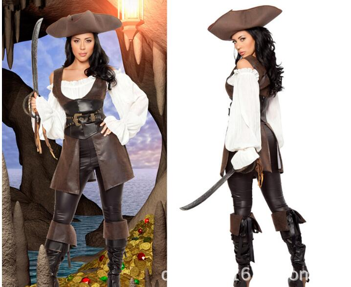 Halloween Women Pirates Costume Set Adult Female Sexy Pirate Cosplay Set The Women Pirate cosplay v chest pirate costume w turban eyeshade black