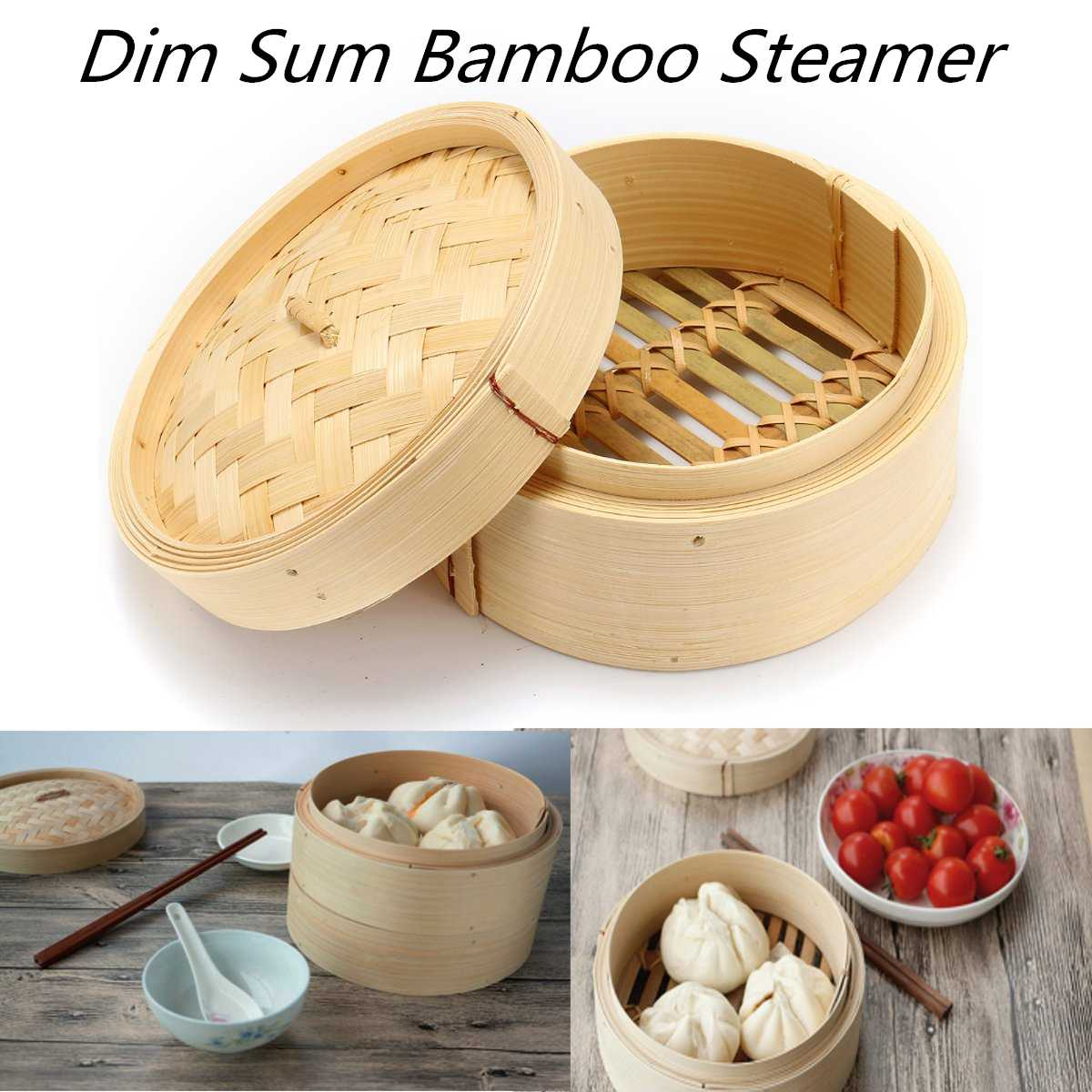 Natural Bamboo Steamer With Lid Chinese Kitchen Cookware Set Dumplings Fish Rice Dim Sum Snack Basket Pasta Kitchen Cooking Tool