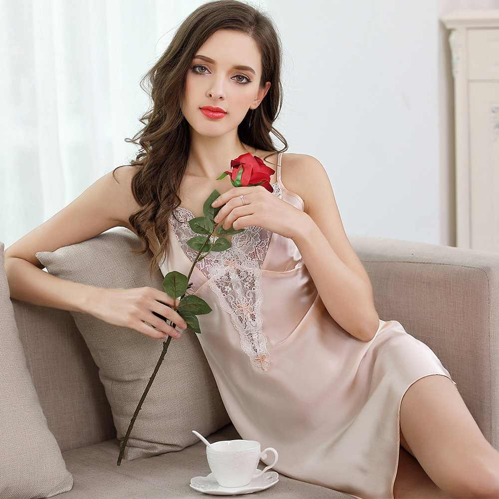 b8515d6e55 Solid Pure Silk Nightgown Women Sleep Dress Ladies Nightie Lace Nightdress  Chemises Slip Sleepwear Satin Nightwear