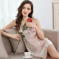 Solid Pure Silk Nightgown Women Sleep Dress Ladies Nightie Lace Nightdress Chemises Slip Sleepwear Satin Nightwear sp0082
