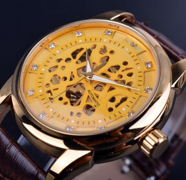 fd925953950 Winner Diamond Skeleton Designer Automatic Movement Brown Leather Strap Men  Golden Luxury Watch Relogio Masculino Clock Men
