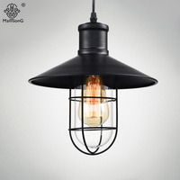 Vintage Metal Glass Creative Pendant Industrial Lights AC Black E27 Loft For Decorative Restaurant Dining Home