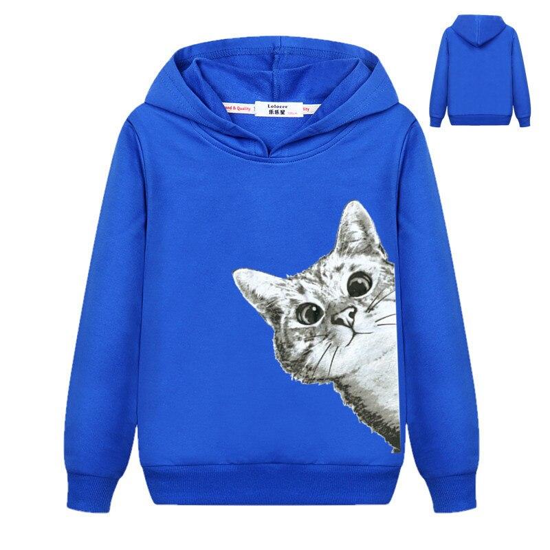 2018 Kawaii Cat Hoodies Kids Girls Cute Cartoon Looking Outside Cat Print Hooded Sweatshirt Loose Pullover Tracksuit for Boys 2