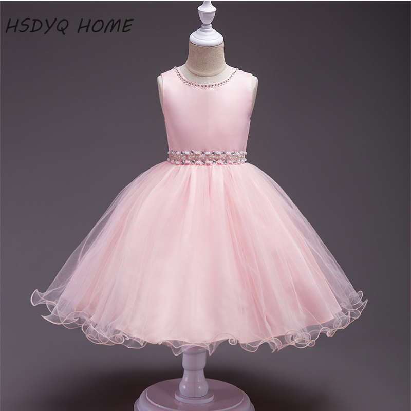 Pink Simple   Flower     Girl     Dresses   Beading Crystal Children gown real photo cheap A-Line Kids   Dress