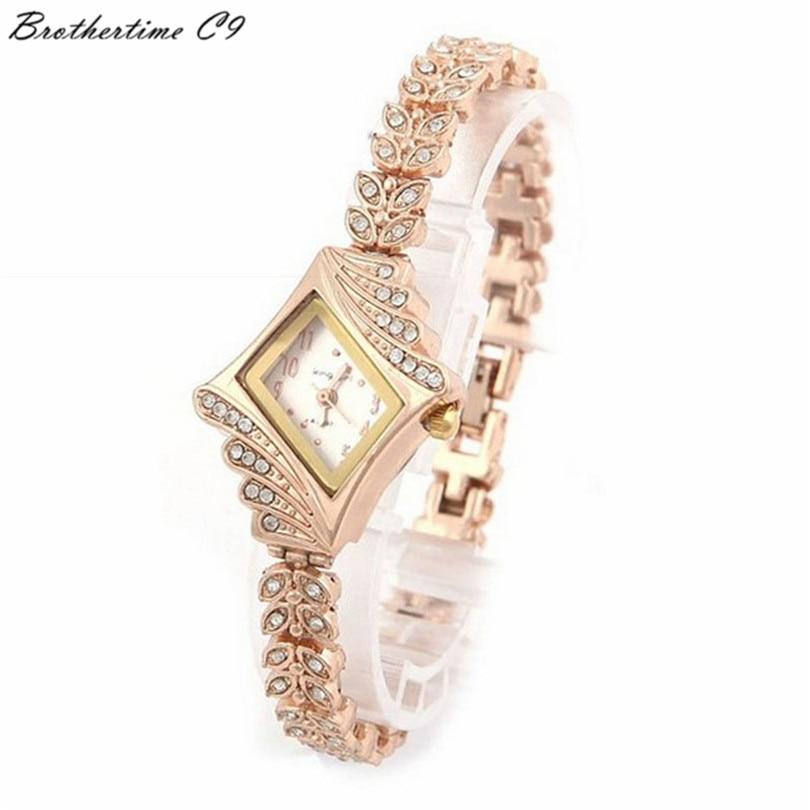 New Rose Gold Bracelet Bangle Rhinestone Crystal Wrist Watches Ladies Watch Original rectangle Quartz Women Fashion Wristwatches rose gold elegant geneva bling crystal women girls bangle bracelet band rhinestone quartz wrist watch