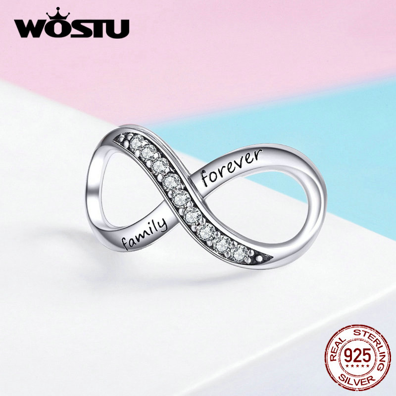 WOSTU Cross Design Infinity Love Charms 925 Sterling Silver Forever Family Bead Fit Original Bracelet Silver 925 Jewelry FIC1146WOSTU Cross Design Infinity Love Charms 925 Sterling Silver Forever Family Bead Fit Original Bracelet Silver 925 Jewelry FIC1146