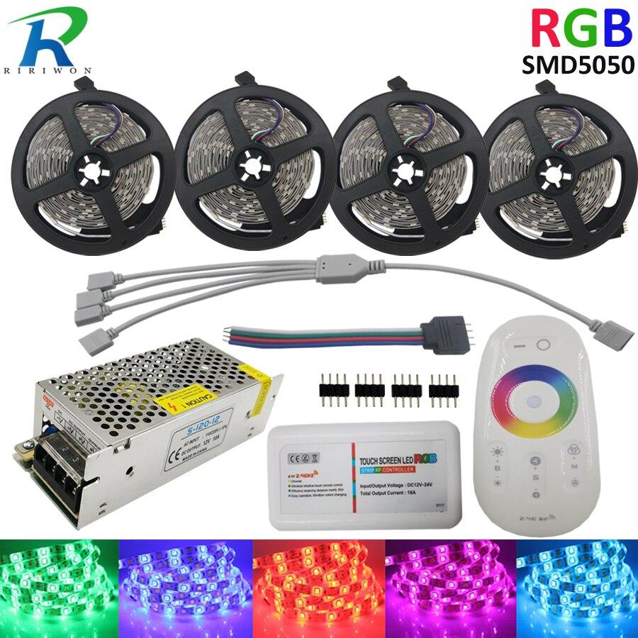 20 M 5050 RGB LED bande étanche 30 LED s/M lumière LED bande ruban ruban RF contrôleur tactile DC 12 V adaptateur secteur Kit complet