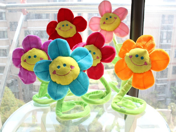 beautiful sunflower toy muticolour flowers lovely plush flowers 10pieces lot about 40cm