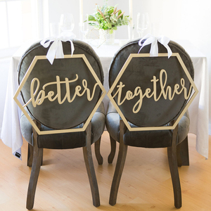 Image 5 - Wood Chair Banner Chairs Sign DIY Wedding Decoration for Engagement Wedding Party Supplies Bride&Groom/Mr&Mrs/Better&Together