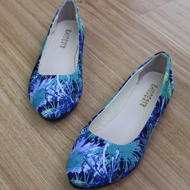 2017 Summer Hot Sale Fashion Women Printed Single Flats Shoes Shallow Mouth Round Toe Fabric Loafers Doug Shoes Big Size 35-42 e hot sale wholesale 2015 new women fashion leopard flat shallow mouth shoes lady round toe shoes