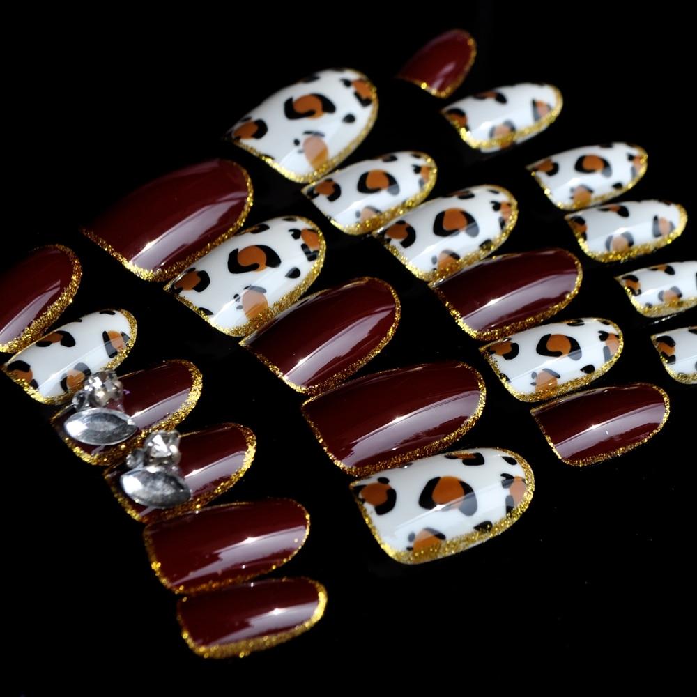 3d Diamant Nail art Decoraiton Tipps Leopard Ovalen Kopf mit Gold ...