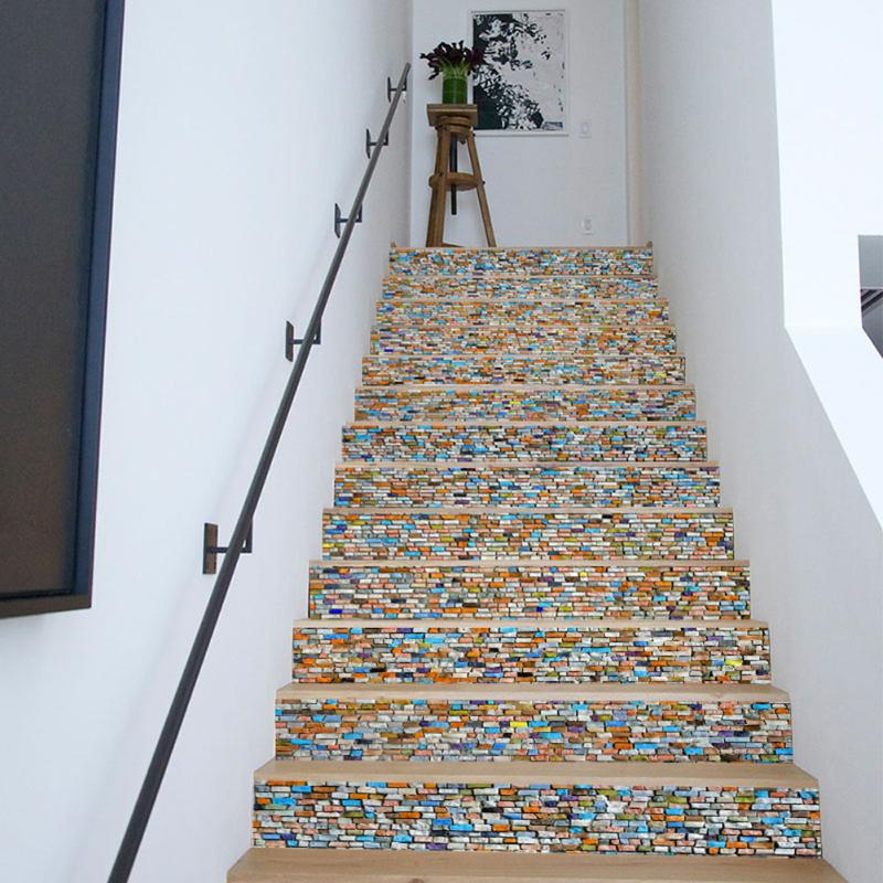 6pcs 3D Stair Stickers Colorful Stone Pattern Stair Covers Stairs ...