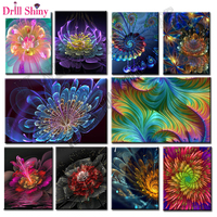 5D DIY Diamond Painting Colors Fluorescent Flower Full Square Diamond Embroidery Flower Kits Pictures Of Crystals
