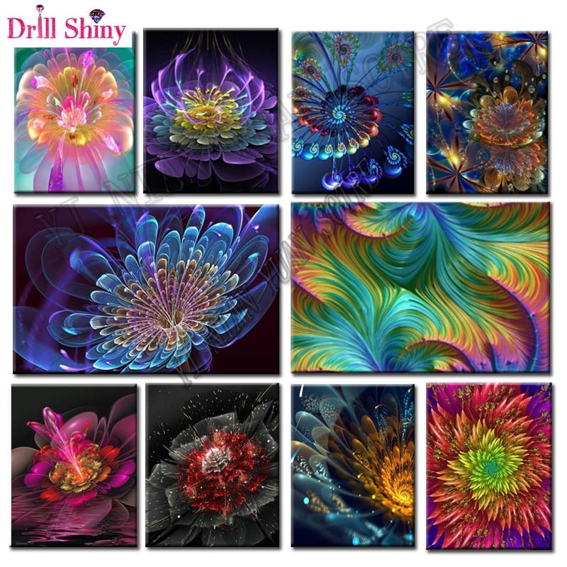 5D Pittura Diamante DIY Colori fluorescente fiore Piazza piena di Diamante del fiore del ricamo Kit Immagini di cristalli casa deocr F47