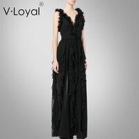 Summer new lotus leaf trimming silk dress dress, European and American custom made Sleeveless Black dress.