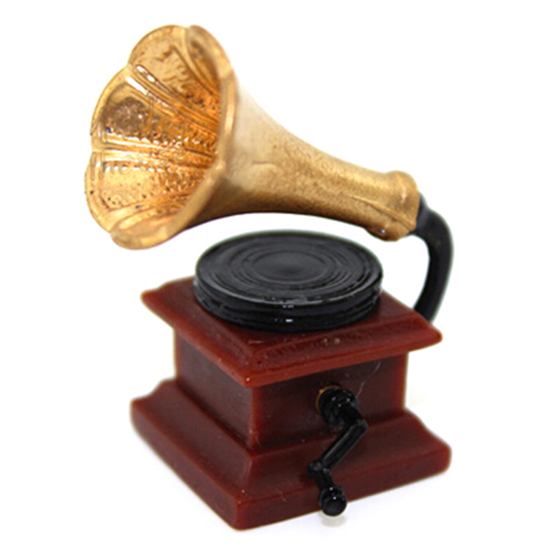 1:12 Furniture Mini Phonograph Accessories Retro Gramophone With Record Diy Miniature Doll House Dollhouse Miniature