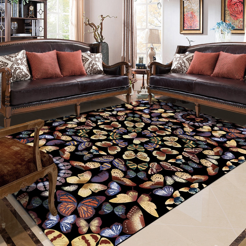 American Style Living Room Large Home Carpet Butterflies Pattern Wedding Decor Kids Room Play Game Sofa Non-Slip Area Rug Tapete