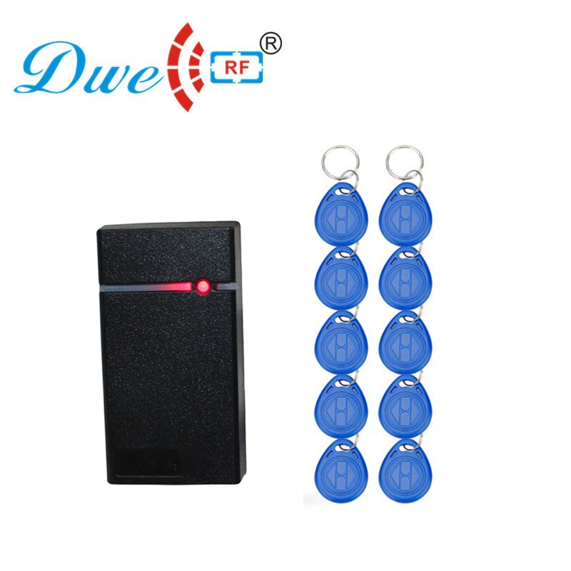 DWE CC RF control card readers wiegand 26bit em card rfid 125khz smart card reader control access waterproof with 10 keyfob free dwe cc rf wiegand26 125khz rfid id card tag keyfob reader waterproof access control wg26