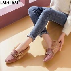 LALA IKAI/женская зимняя повседневная обувь на плоской подошве, с квадратным носком, с заклепками, с ремешком и пряжкой, с искусственным мехом