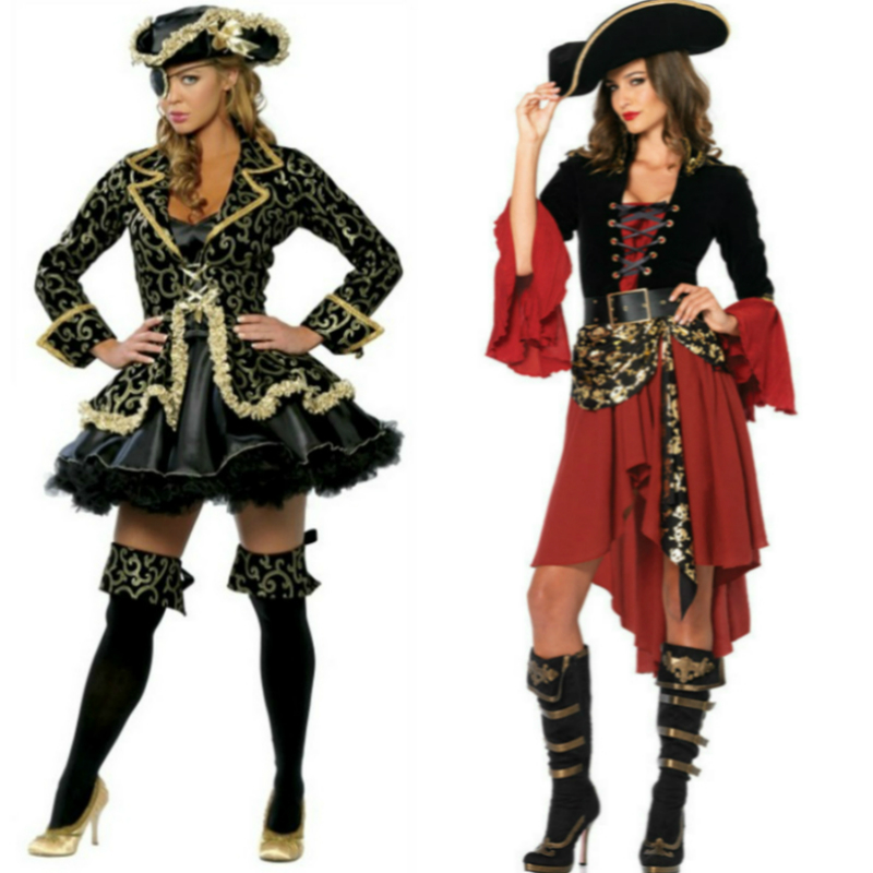 Women Dress with Hat Belt Anime Cosplay for Pirates of the Caribbean Sexy Role Playing Costume Adult in Halloween Carnaval Party