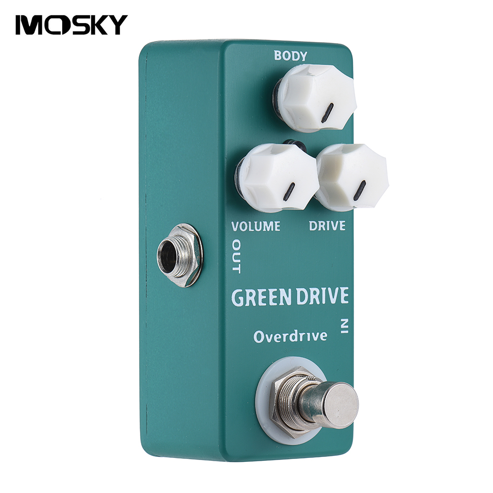 Mosky Green Drive Mini Smooth, Natural Overdrive and Boost Guitar Effect Pedal True Bypass aroma adr 3 dumbler amp simulator guitar effect pedal mini single pedals with true bypass aluminium alloy guitar accessories