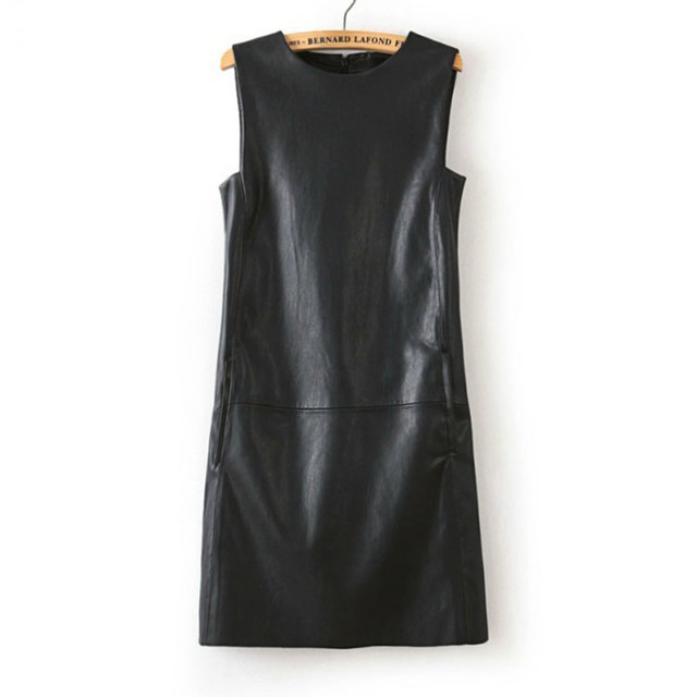3XL 4XL 5XL 6XL Plus Size Dress Winter Women Faux PU Leather Straight Sleeveless Knee-Length  Dress