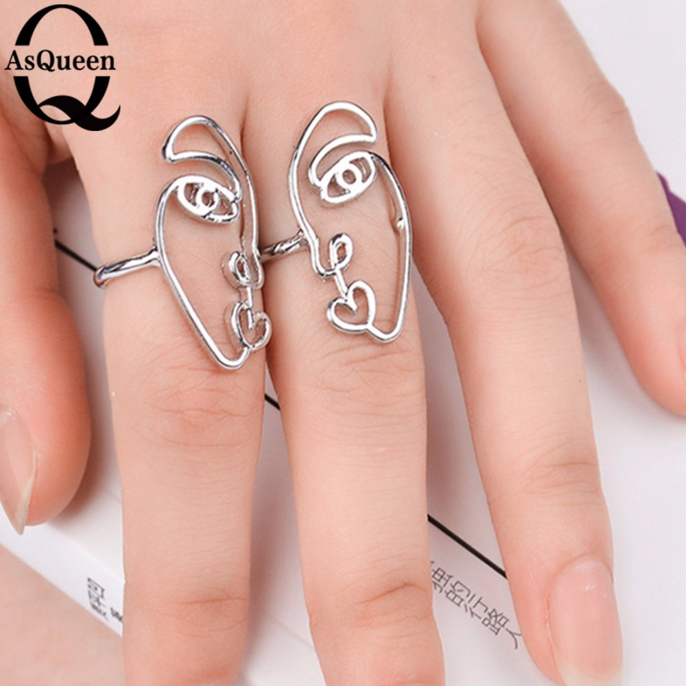 2 Pcs/Set Exaggerated Personality Metal Texture Face Ring Fashion ...