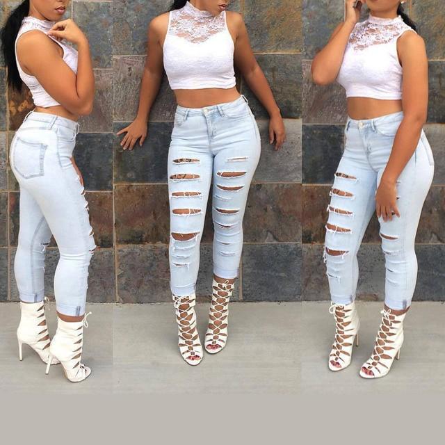 fc260eb70d8f8 Moda Casual de Mujer de Marca Vintage de Cintura Alta Vaqueros Ajustados  Denim Slim Jeans Rotos