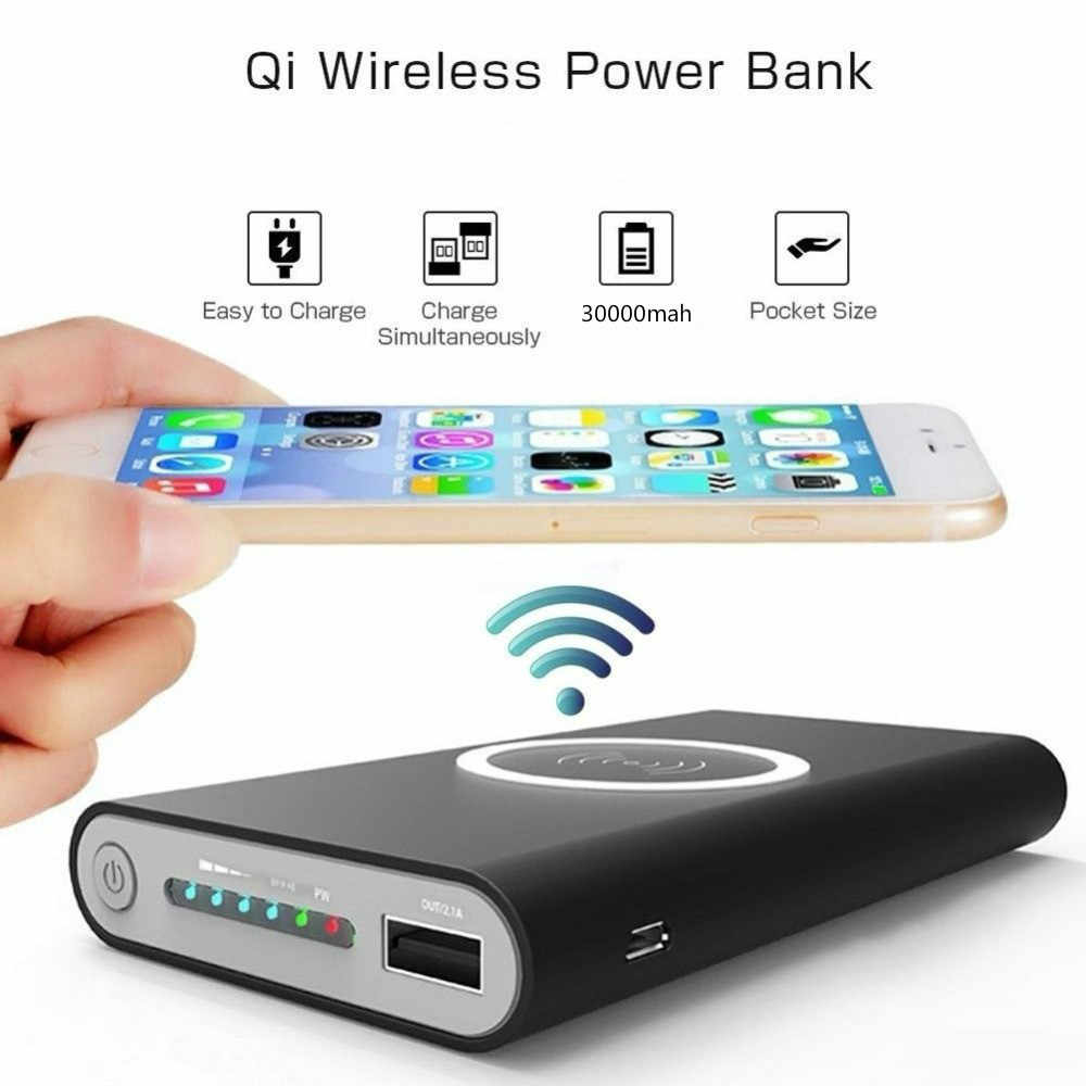 Qi Wireless Charger Power Bank 30000 MAh untuk iPhone X 8 PLUS Samsung Note 8 S9 S8 Plus S7 Portable powerbank Charger Ponsel