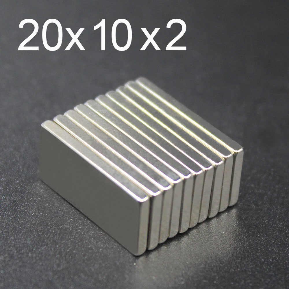 5/10/15/20/50 Pcs 20x10x2 Ímã De Neodímio 20mm x 10mm x 2 N35 ímanes NdFeB Bloco Poderoso Super Forte Magnético Permanente