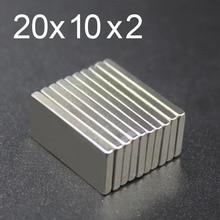 5/10/15/20/50Pcs 20x10x2 Neodymium Magnet 20mm x 10mm 2 N35 NdFeB Block Super Powerful Strong Permanent Magnetic imanes