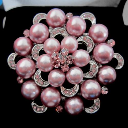 Серебряный тон искусственный жемчуг и горный хрусталь с бриллиантами, кристалами для свадьбы брошь с букетом - Окраска металла: Silver Lilac