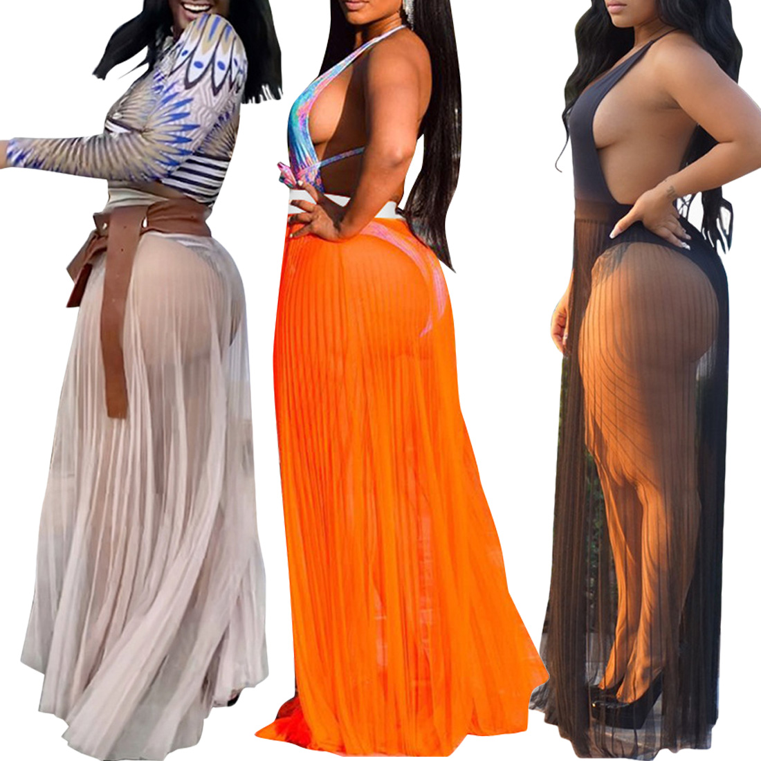 Stunning Sheer Maxi Beach Skirt Beach Wear Cover Up Sarong 3 Colours availab NEW