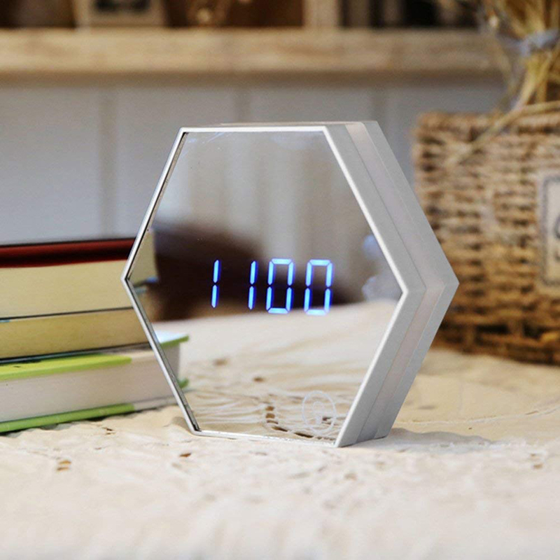 Hexagonal Mirror Electronic Alarm Clock Digital LED Wall Clock With Luminous Temperature Charging Function USB Travel Watch