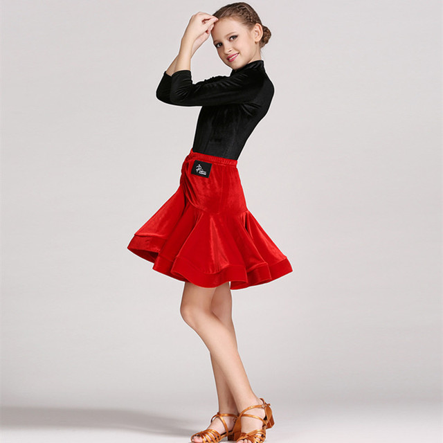 da736477c52 Robe latine pour filles danse costume enfants salsa robes filles latin jupe  latino danse robe enfants