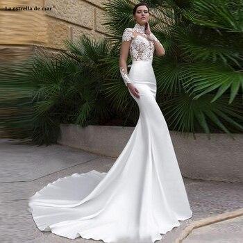 robe mariage sirene cou haut 2020  lace satin long sleeve ivory sexy mermaid beach wedding dress vestidos de novia robe mariee