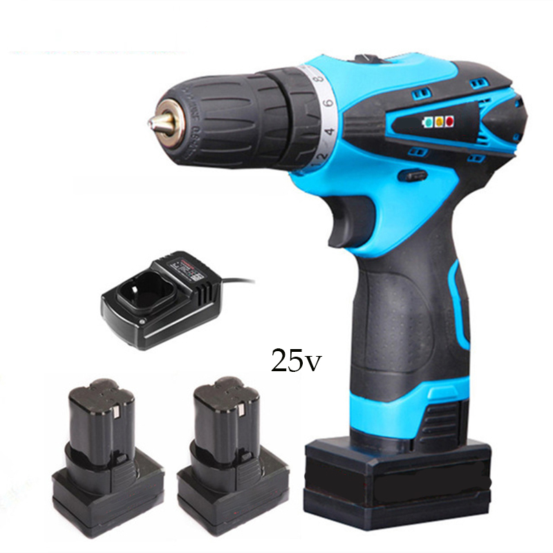 цена на 25v Rechargeable Lithium Battery*2 hand Cordless Electric Drill Electric Screwdriver Torque drill Screw driver power tool