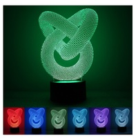New Arrival 7 Color Changing Night Lamp 3D Bulbing Light Heart Visual Illusion LED Lamp For